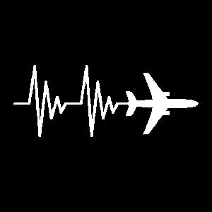 Flugzeug Pilot EKG Liebe Herzschlag weiß