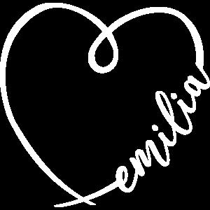 Emilia Name Vorname Kalligrafie Herz Namenstag