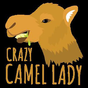 Verrückte Kameldame mit spuckendem Kamel