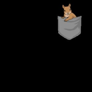 Eichhörnchen in Brusttasche Tier in Tasche