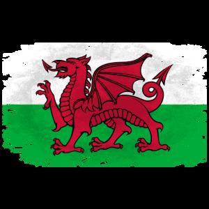 Wales Flag - Vintage Look