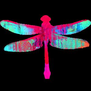 libelle, bunt graffiti, malerei, mint, rot, pink