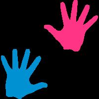 blau rosa hand junge maedchen