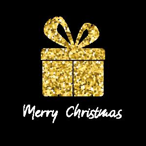 Glitzer Merry Christmas Geschenk Gold