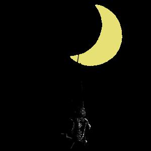 Banksy Kleinkind auf Schaukel unter Mond