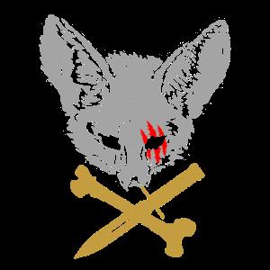 Fuchs mit Messer und Knochen