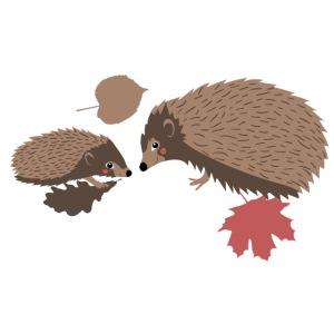 Igel Herbstfreunde beraten sich im Laub