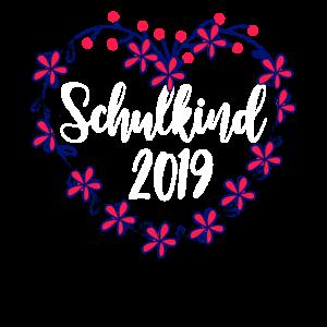 Schulbeginn Schulkind 2019 Blumen Blumenkranz Herz