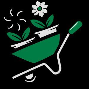 Garten blumen schubkarre