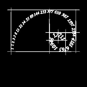 Spiralgeometrie der Fibonacci-Sequenz mit goldenem Schnitt