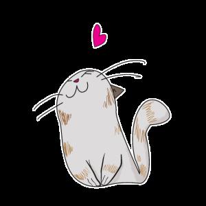 Niedliche Katze mit Herz Kinder Geschenk Idee