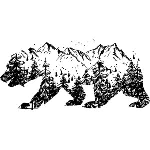 Bär Silhouette Double Exposure Natur Wald Berge