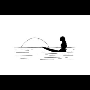 SURFER GIRL | Surfen | Line Art schwarz weiß