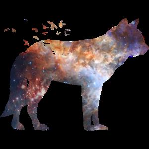 Wolf Silhouette Universum Galaxie Nebula Geschenk