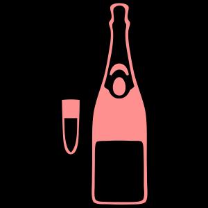 flasche champagner floete glas