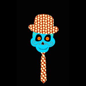 Handyhuelle Totenkopf Skull mit Krawatte und Hut