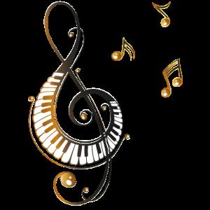 Musik Notenschlüssel mit Klavier und Musiknoten