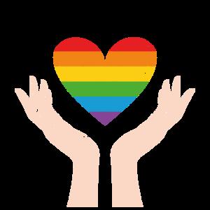 Herz LGBT Handzeichen Bunt Geschenk