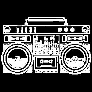 Ghetto Blaster Silhouette (Weiß)