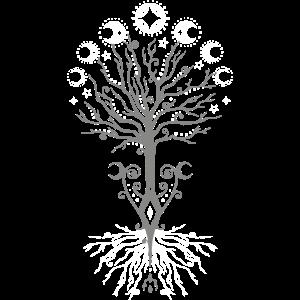 Yggdrasil Weltesche - Mondphasen Tree of Life