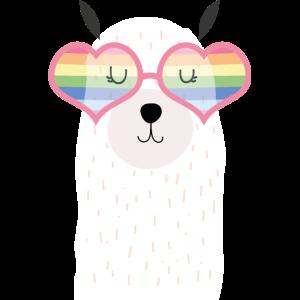Lama, Rainbow, Sunglasses, Pride, Love, Heart