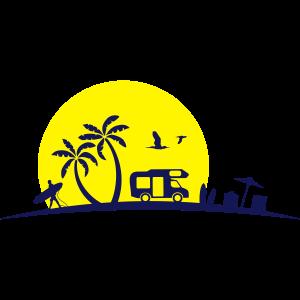 Wohnmobil Strand und Palmen