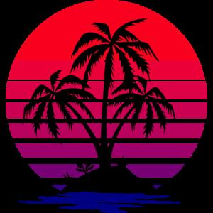 Sonnenuntergang Sonne Palmen Meer Insel Retro 80er