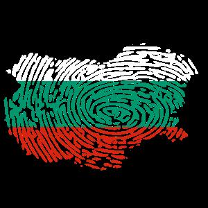 Bulgarien Flagge Fingerabdruck Länderumriss Balkan