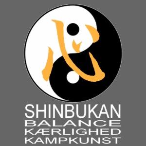 Shinbukan Tai Chi og tegnet for Kokoro hvidt tryk