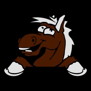 lustig comic cartoon pferd mauer schild text leer
