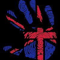 hand englische flagge fussabdruck