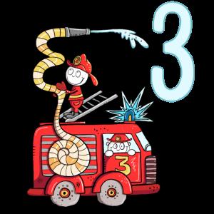 Ich Bin Drei Feuerwehr Auto 3. Geburtstag Junge