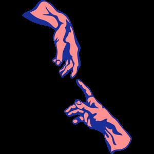 zwei hand finger beruehrung gott mann