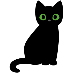 Schwarze Katze Halloween grüne Augen süß