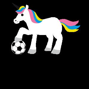 Unicorn Einhorn spielt Fußball