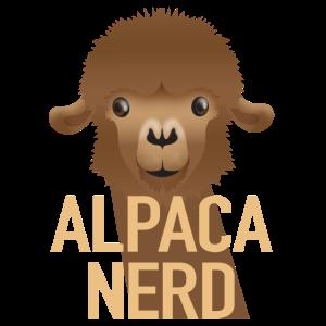 Alpaka-Nerd mit süßem Alpaka-Gesicht