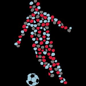 fussball spieler punktiert ball im jahre