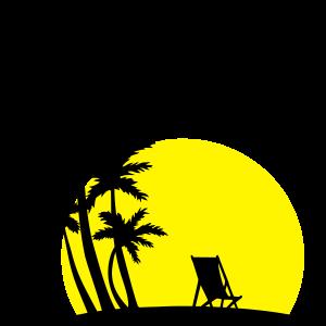 Paradies, Palmen, Sonnenuntergang