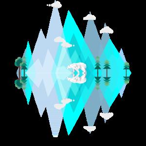 Blaue Eis Berge mit Eisbär