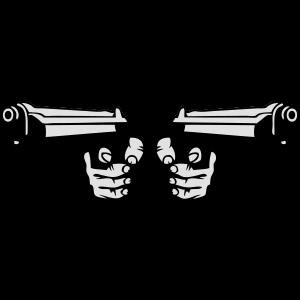 pistole revolver mit zwei waffen hand 0