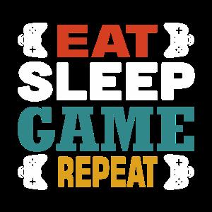 essen, schlafen, Spiel wiederholen