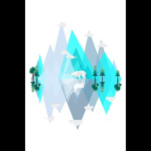 Verkehrte Welt - Blaue Eis Berge mit Eisbär