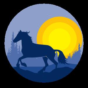 Pferd im Sonnenuntergang in der Natur - Design