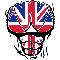 koerper englische flagge zerrissen muske