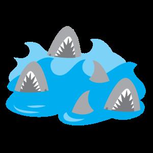Haie in einer wirbelnden Poolfamilie