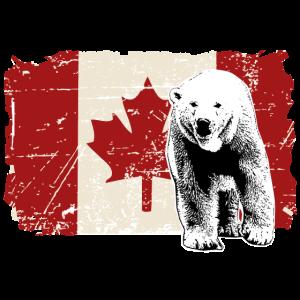 Polar Bear - Canada Flag