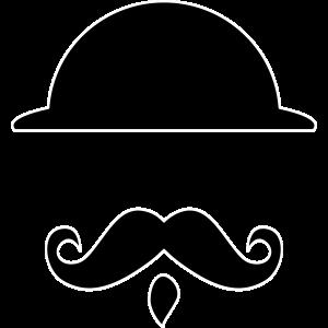 Mustache Bart mit Melone - weiße Kontur