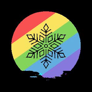 Regenbogenfarbiger Schneefall