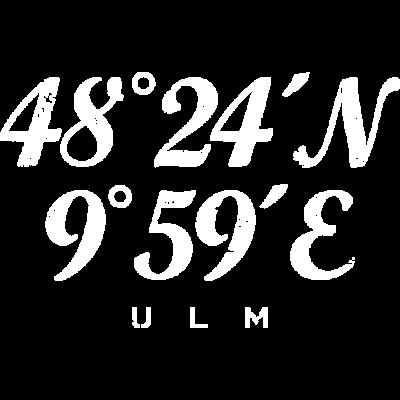 Ulm Koordinaten Vintage Weiß - Die Koordinaten mit Längengrad und Breitengrad der Stadt Ulm an der Donau - ulmer,Ulm längengrad,Ulm koordinaten,Ulm breitengrad,Ulm