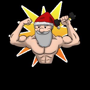 Hantel Fitness Weihnachtsmann Gym Weihnachten